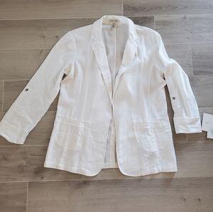 NWT ELLEN TRACY White Linen Blazer